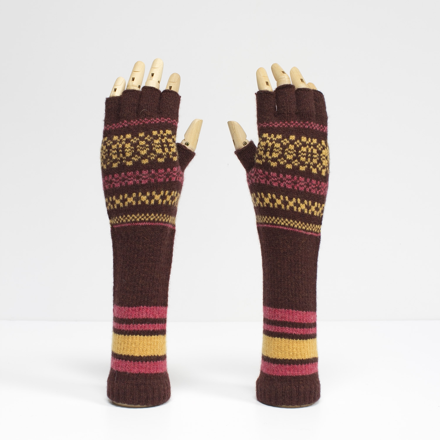 Fairisle autumn fingerless wristwarmers