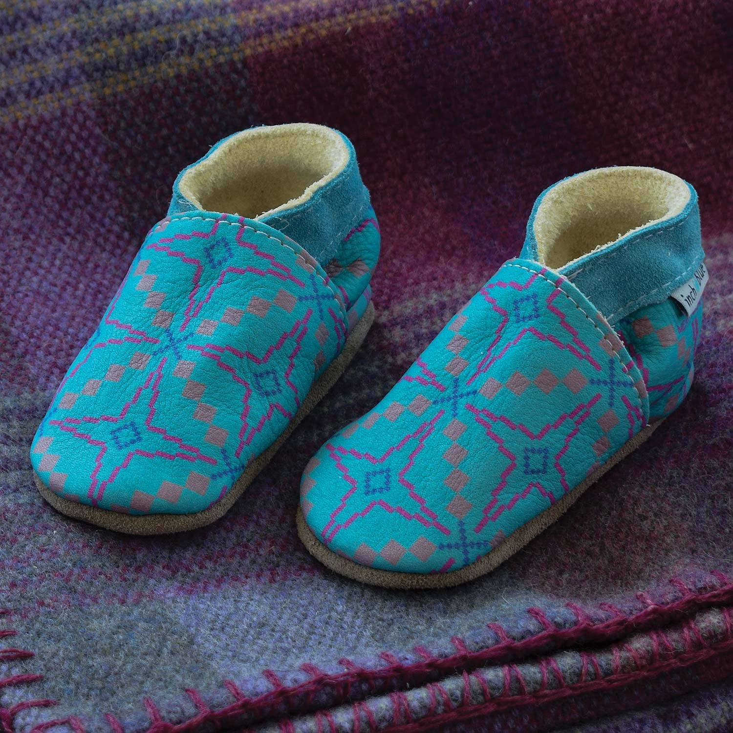 Vintage Star Baby Slippers Turquoise