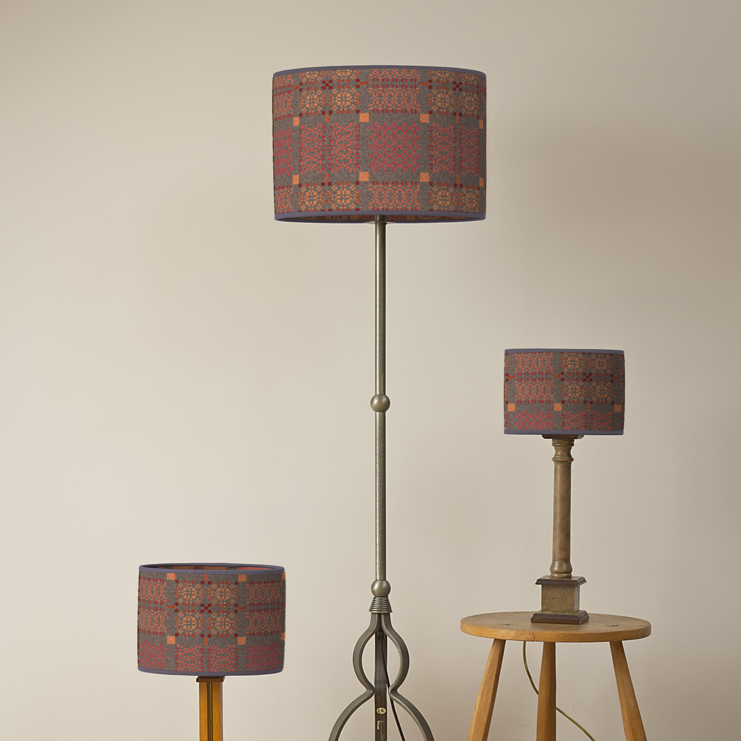 Knot Garden copper oval lampshades