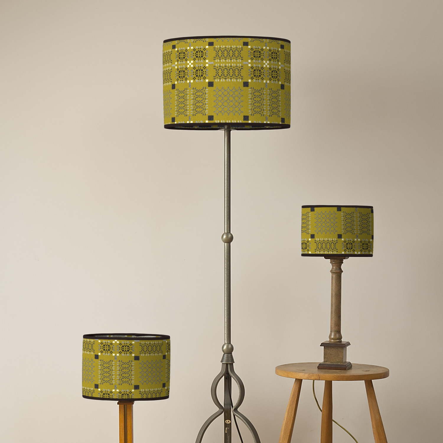Knot garden gorse oval lampshades