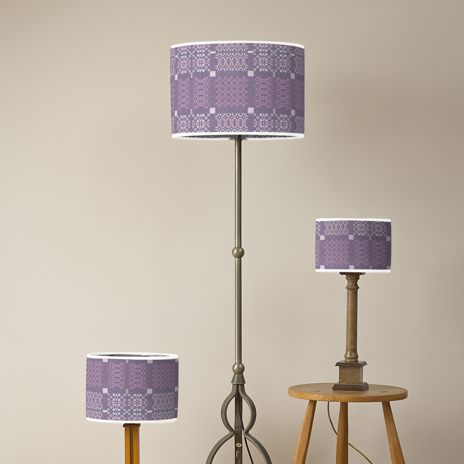 Knot Garden lilac oval lampshades