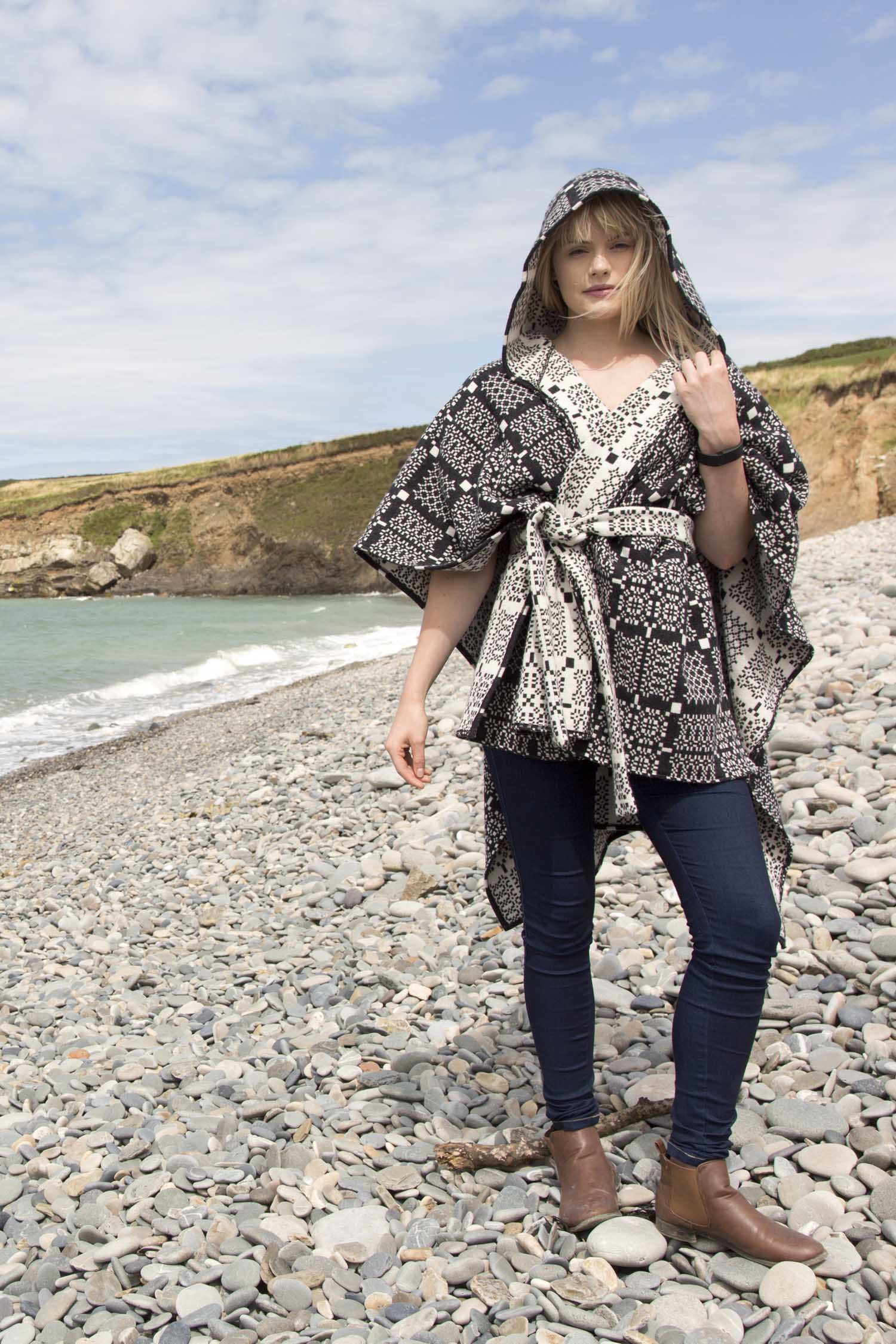 Knot Garden graphite hooded poncho