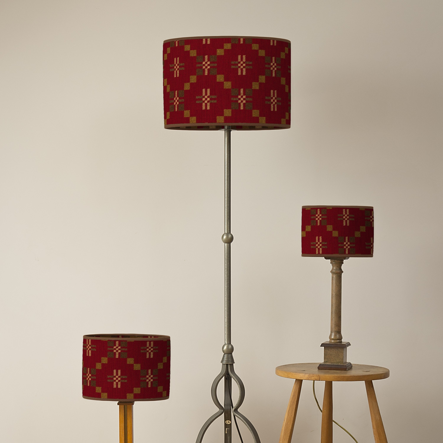 St Davids Cross chesnut oval lampshades