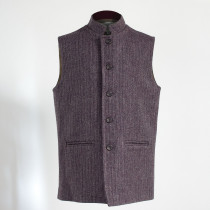 Semiplain aubergine Nehru sleeveless jacket