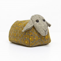 Vintage rose mustard sheep doorstop