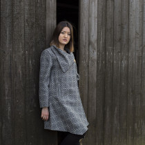 Vintage rose slate draped coat