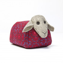 Vintage rose redberry sheep doorstop
