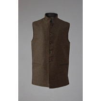 Semiplain walnut Nehru sleeveless jacket