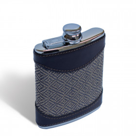 Cambrian wool Diamond tweed Hip flask 6oz Mocha