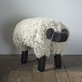 Ewe moo sheep foot stool Ivory black frame
