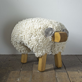 Ewe moo sheep foot stool Ivory oak frame
