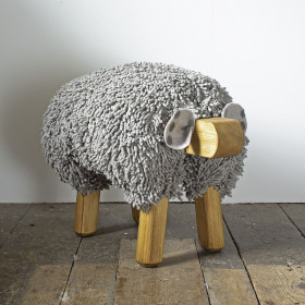 Ewe moo sheep foot stool Light Grey
