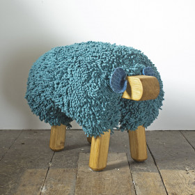 Ewe moo sheep foot stool Teal