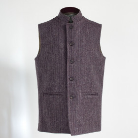 Nehru sleeveless jacket Aubergine